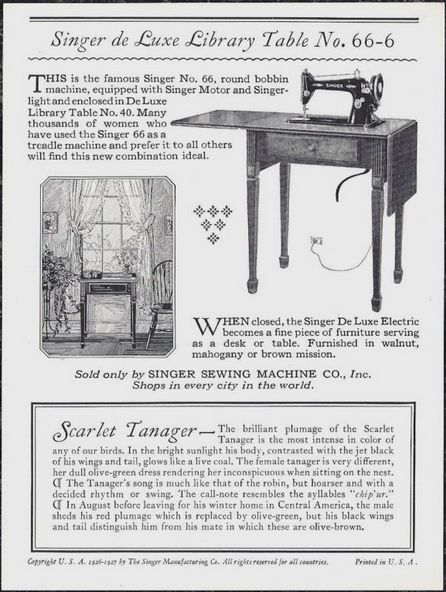 1927 Singer Sewing Machine Scarlet Tanager Trade Card & Egg John Livzey Ridgway - back