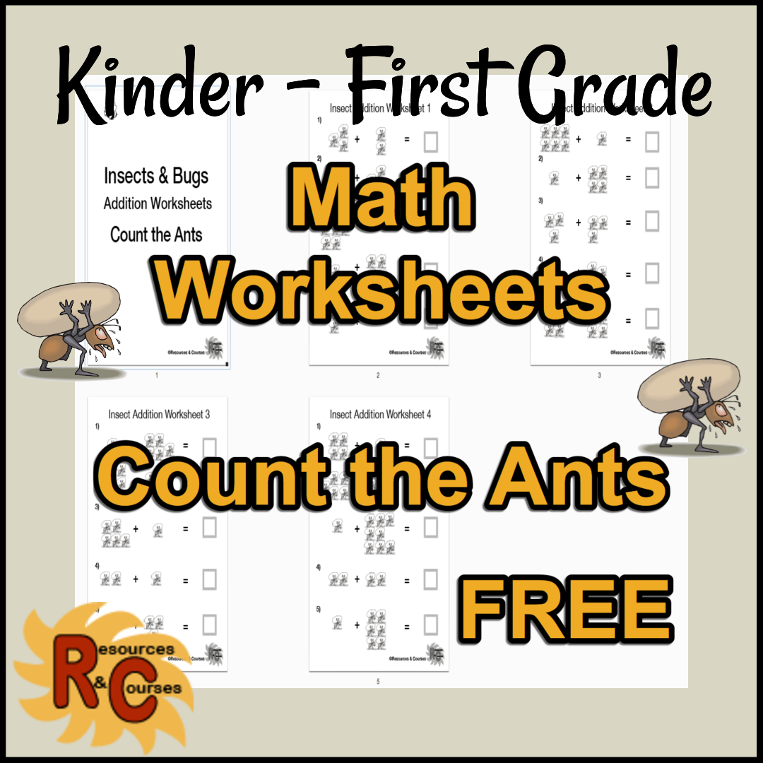Free Single Digit Addition Count The Ants Worksheets From
