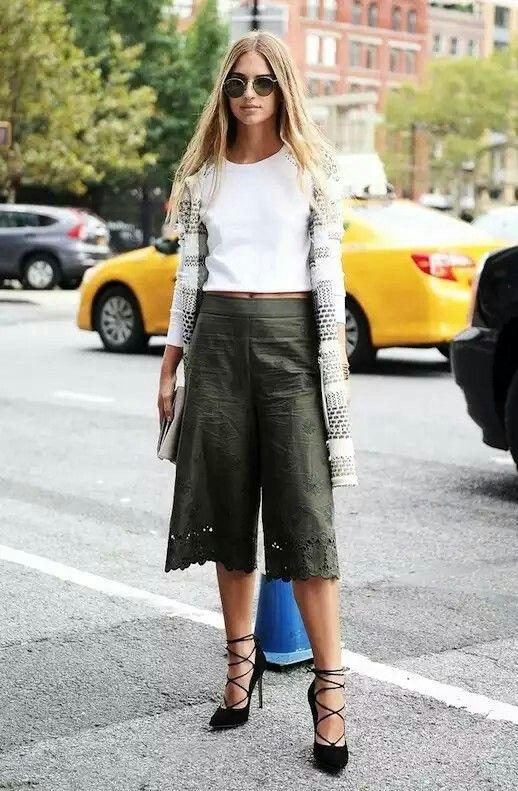 Culottes, lace-up shoes
