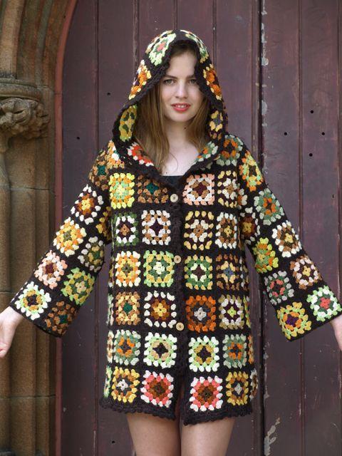 Granny Square Coat/Hoodie - Randa Masri #grannysquareponcho