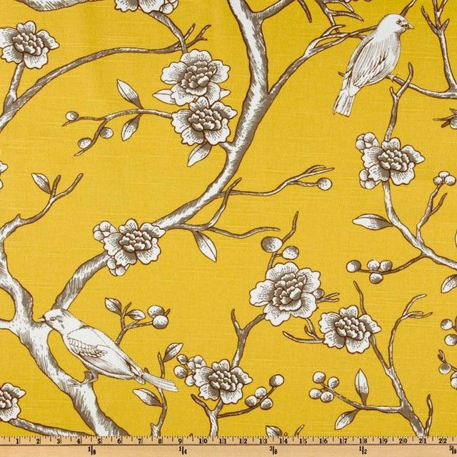 Dwell Studio Vintage Blossom Citrine Fabric Contemporary