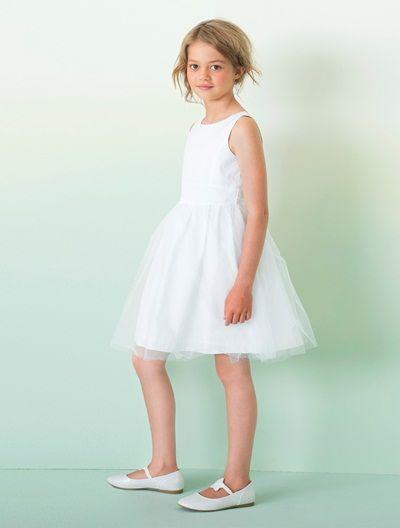 9b18032ac60 Robe de cérémonie fille en satin et tulle BLANC+ROSE CLAIR+SABLE IRISE -  vertbaudet enfant