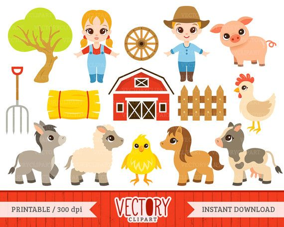 farm clipart set of 15 barnyard clipart farm by vectoryclipart rh pinterest com barnyard clipart black and white barnyard roundup clipart
