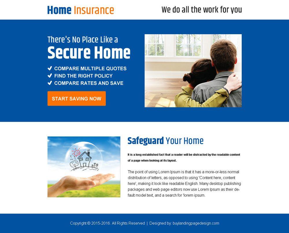 Home Insurance Minimal Ppv Landing Page Design Page Design
