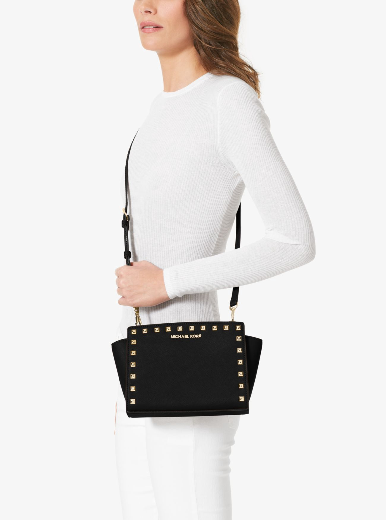 8a911dec12d2 MICHAEL KORS Selma Medium Studded Leather Messenger.  michaelkors  bags  shoulder  bags  leather  polyester  lining