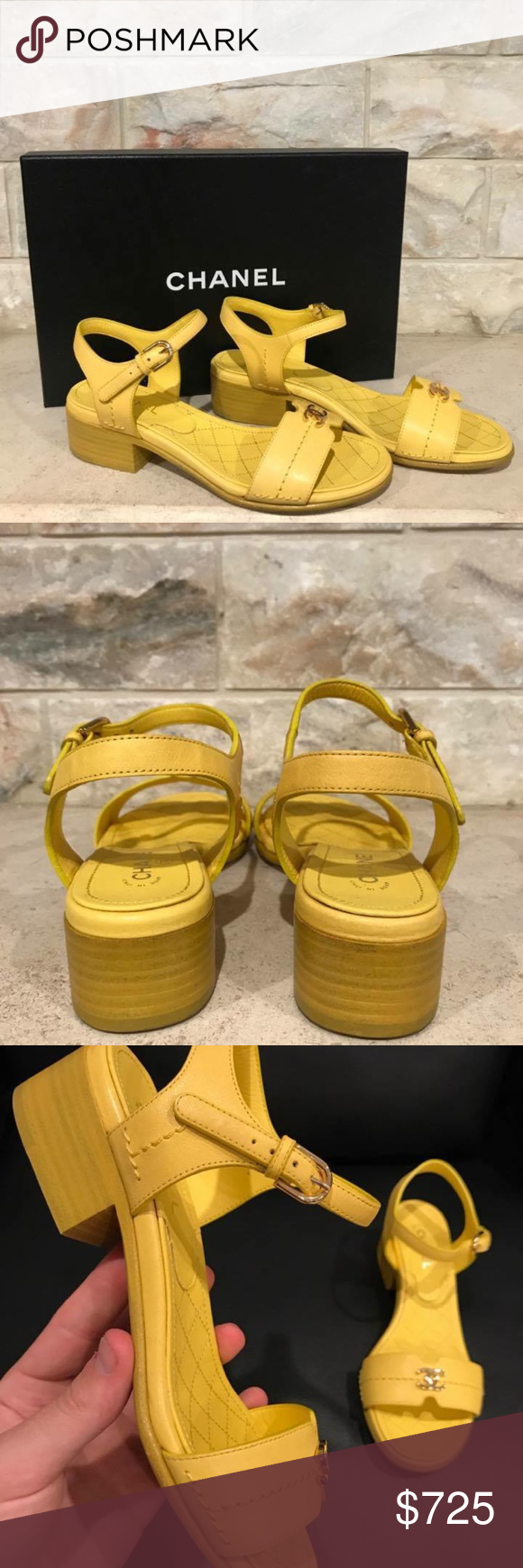 Chanel 17P Yellow Leather CC Gold Logo Slide Heel Chanel 17P Yellow Leather CC Gold Logo Slide Heel Sandal Flip Flop Flat 36  ********** Chanel **********  Brand: Chanel Size: 36 (know your Chanel size)  Name: Ankle Strap Color: Yellow Style: 17P Style#: G32401X52128 Material: Calfskin Leather Front toe band with gold CC logo Yellow calfskin leather material Adjustable ankle strap buckle 25mm small back heel Brand new in box, comes with original box and dust bag CHANEL Shoes Sandals
