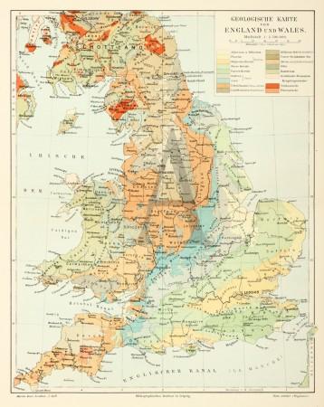 karte england wales Geologische Karte von England und Wales.   Antique Print Map Room