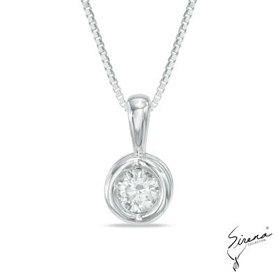 1/10+CT.+Diamond+Sirena™+Energy+Solitaire+Pendant+in+14K+White+Gold