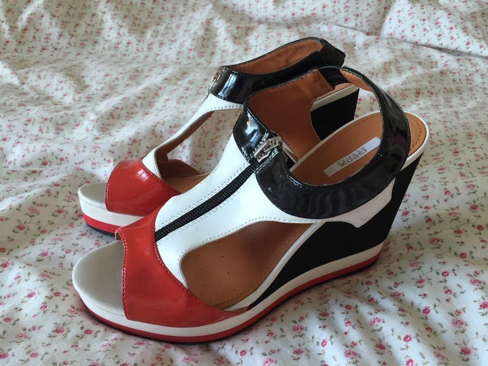 Geox Respira Womens Sandal Heel Wedge Black White Red Size 6 39