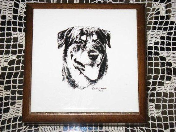 Vintage Cindy Farmer Porcelain Tiled Wood Rottweiler Dog