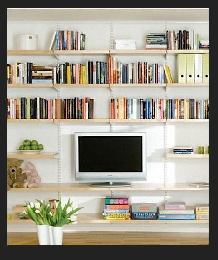 Image result for Bookcase above TV