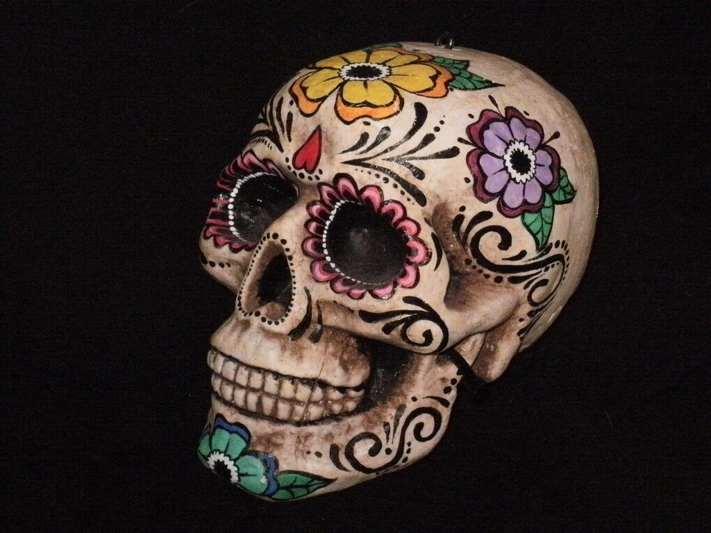 2366 best dia de los muertos images on pinterest sugar skulls actual day of dead skull upside down heart dot motif swirl pattern flower shapes dailygadgetfo Choice Image