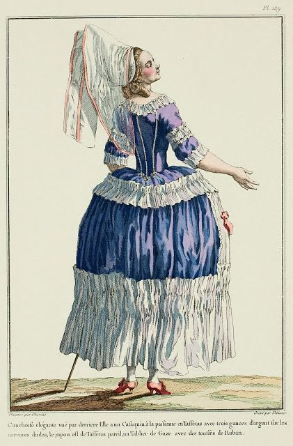 Galerie des Modes, 29e Cahier, 6e Figure Elegant Cauchoise seen from the back. She has a peasant Casaquin in Taffeta with three silver gances on the back seams, the petticoat is of matching Taffeta, a Gauze Apron with ribbon tufts. (1780)