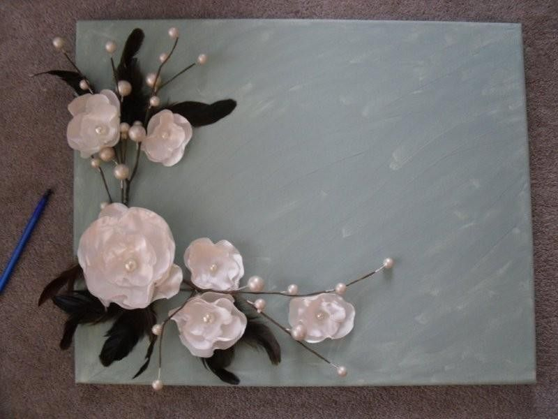 Idea For A Guest Book Silk Flowers On Canvas For Guests To Sign