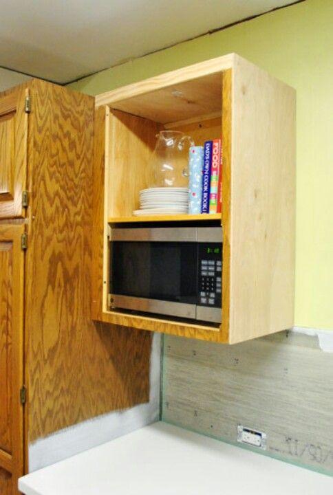 Diy Microwave Shelf Microwave Cabinet Lake House Kitchen