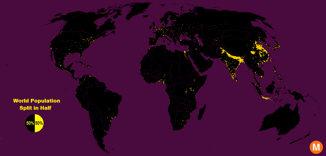 world population split in half map Half