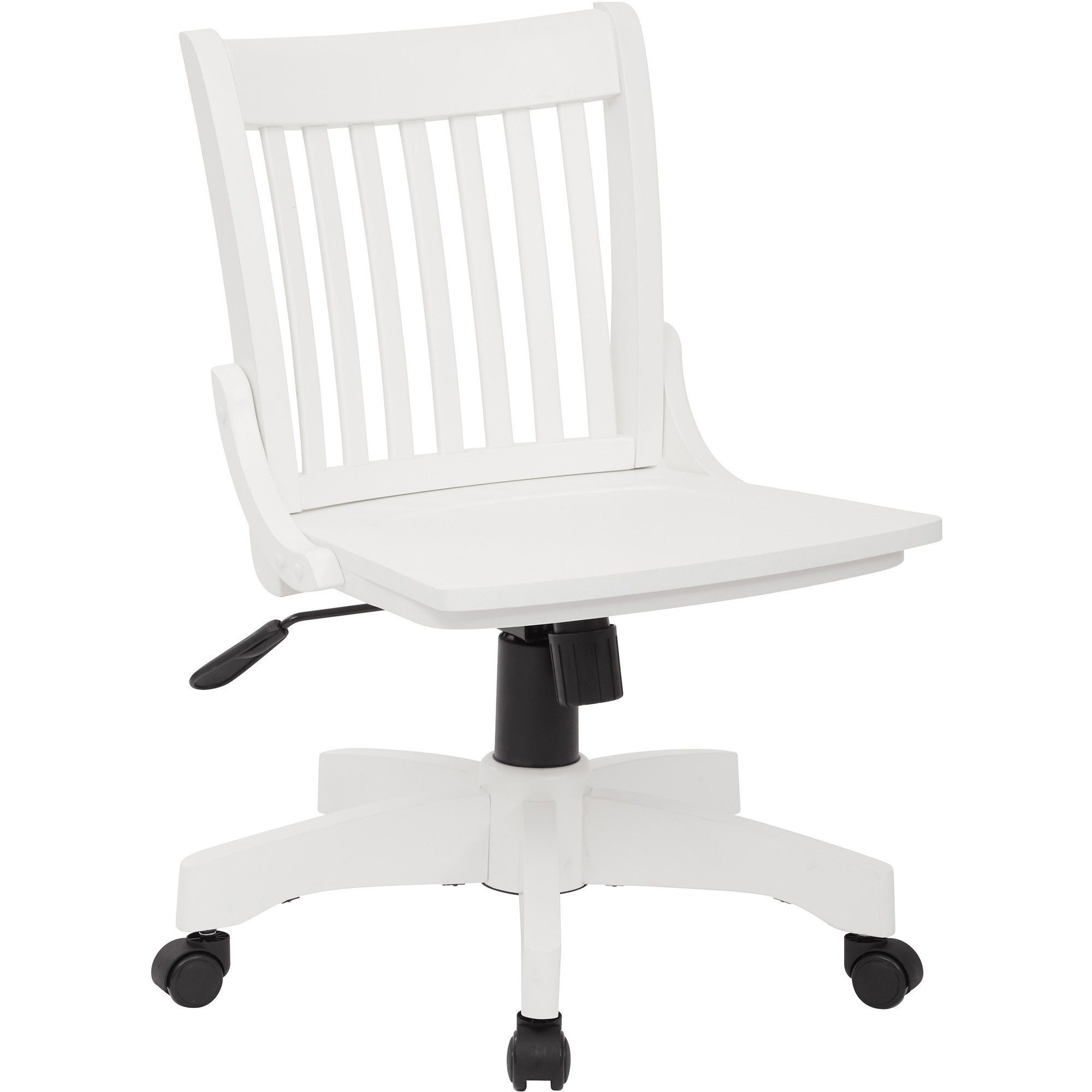 OSP Deluxe Armless Wood Bankers Chair With Wood Seat, White