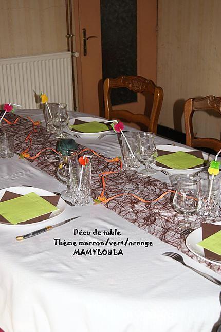Recette Déco De Table Thème Marron/vert/orange Orange Et Vert, Pliage  Serviette