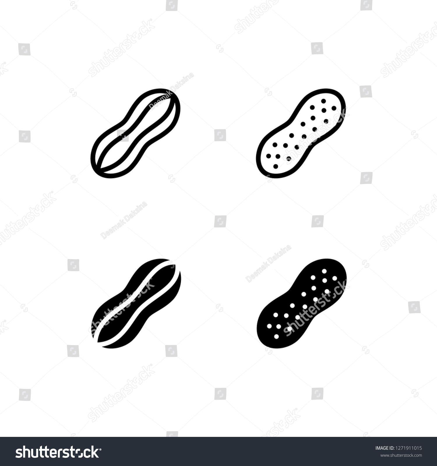 Peanut Icon Design. peanut, nut, nutshell, snack, organic