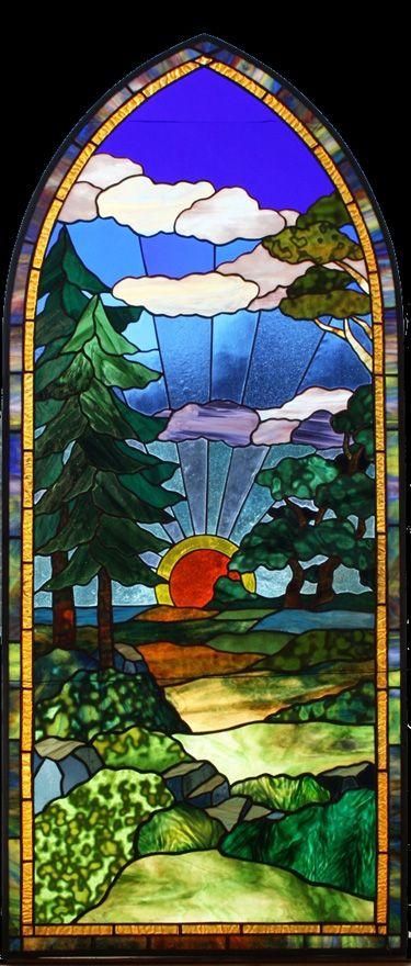 Stained Glass Window Sunrise Nature Scene Met Afbeeldingen