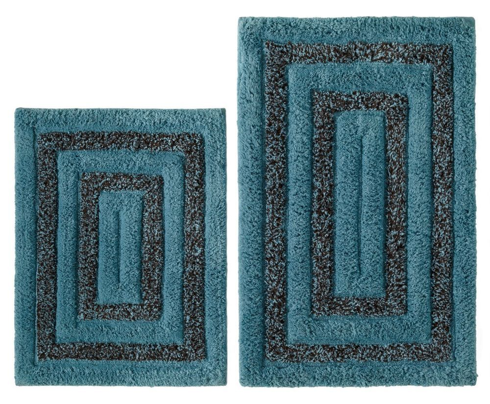 NEW 2 Pc Tweed Cotton Bath Rug Set Spa Blue & Brown Non ...