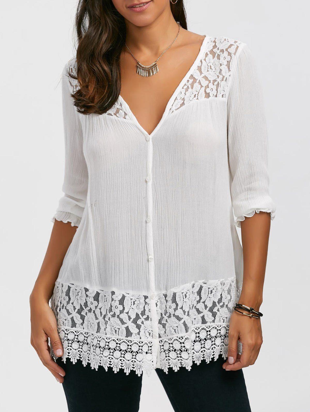 Lace Trim Button Up Tunic Blouse 5007