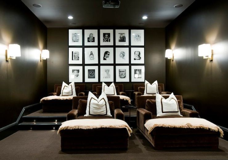 Media Rooms fantastic movie room design with black walls paint color