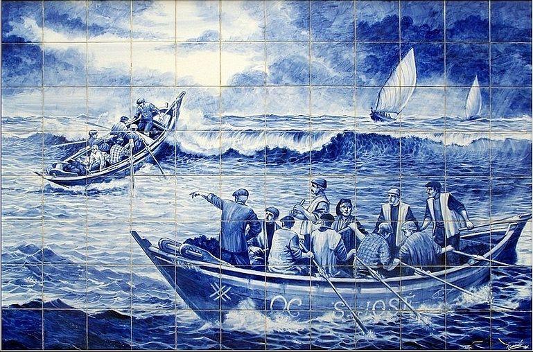 Cenas da vida quotidiana, Povoa de Varzim, Tiles, Portugal, Azulejos