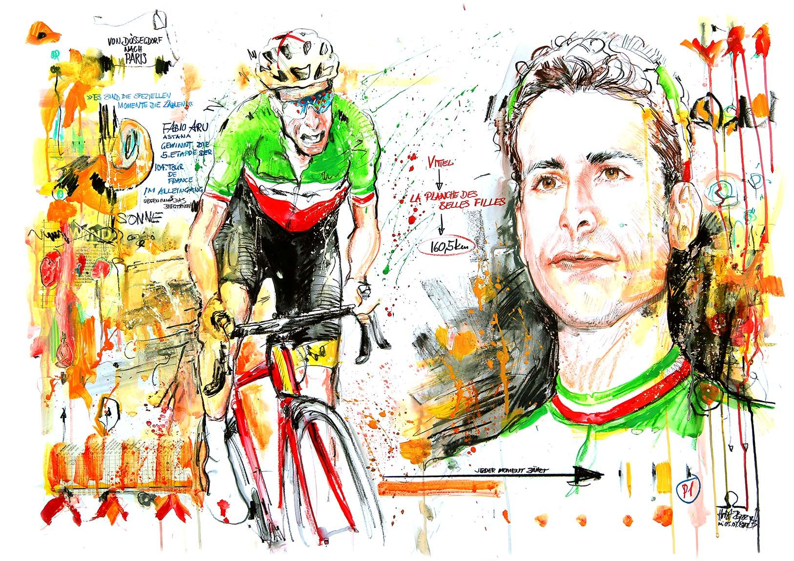 Fabio Aru Team Astana Bike Poster Bike Art Cycling Art