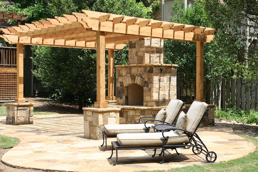 Flagstone patio with pergola and flagstone wrapped post for Pergola post ideas