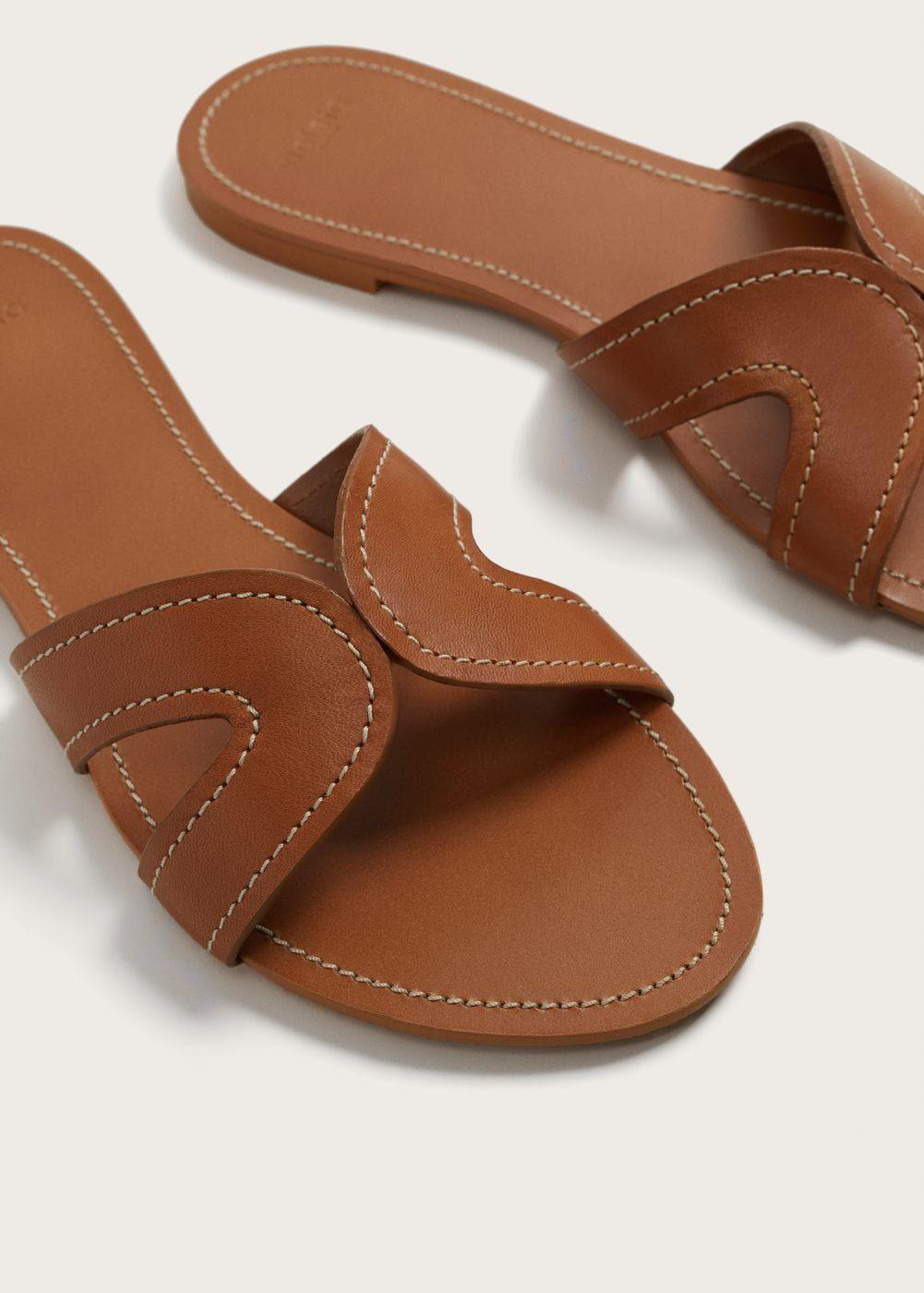Mode I Stora Storlekar For Damer Leather Sandals Handmade Shoes Flats Sandals Leather Slippers