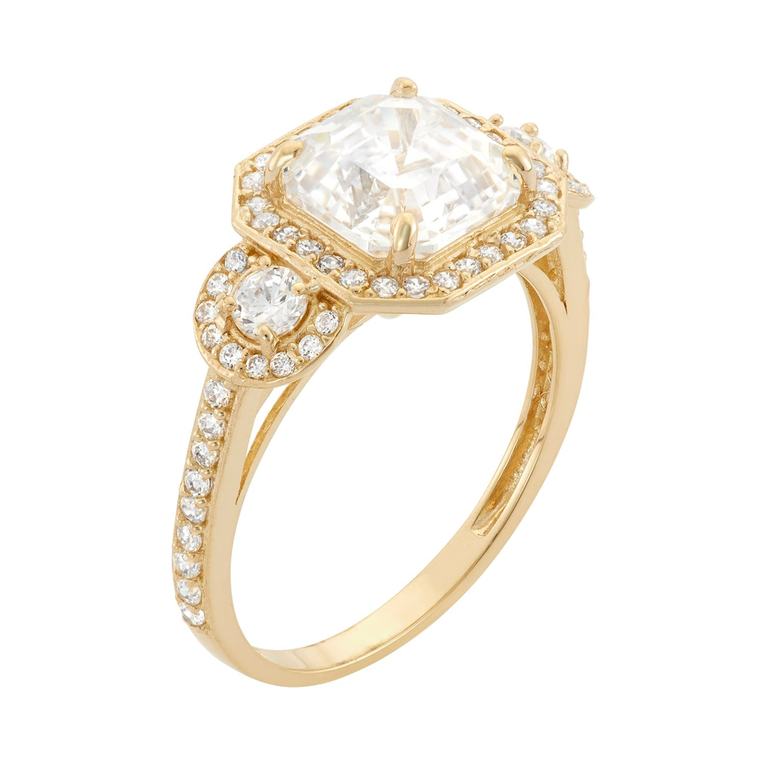 10k Gold Cubic Zirconia Halo Engagement Ring Cubic Gold Zirconia Ring