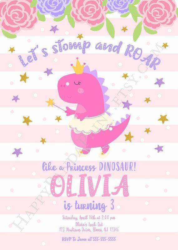Girls Pink Watercolour Dinosaur Children/'s Birthday Party Invitations