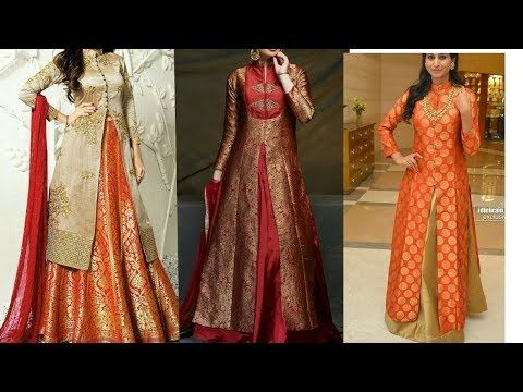 b094a8136a2c84 Front open kurta with lehenga  banarasi  silk  brocade - YouTube ...