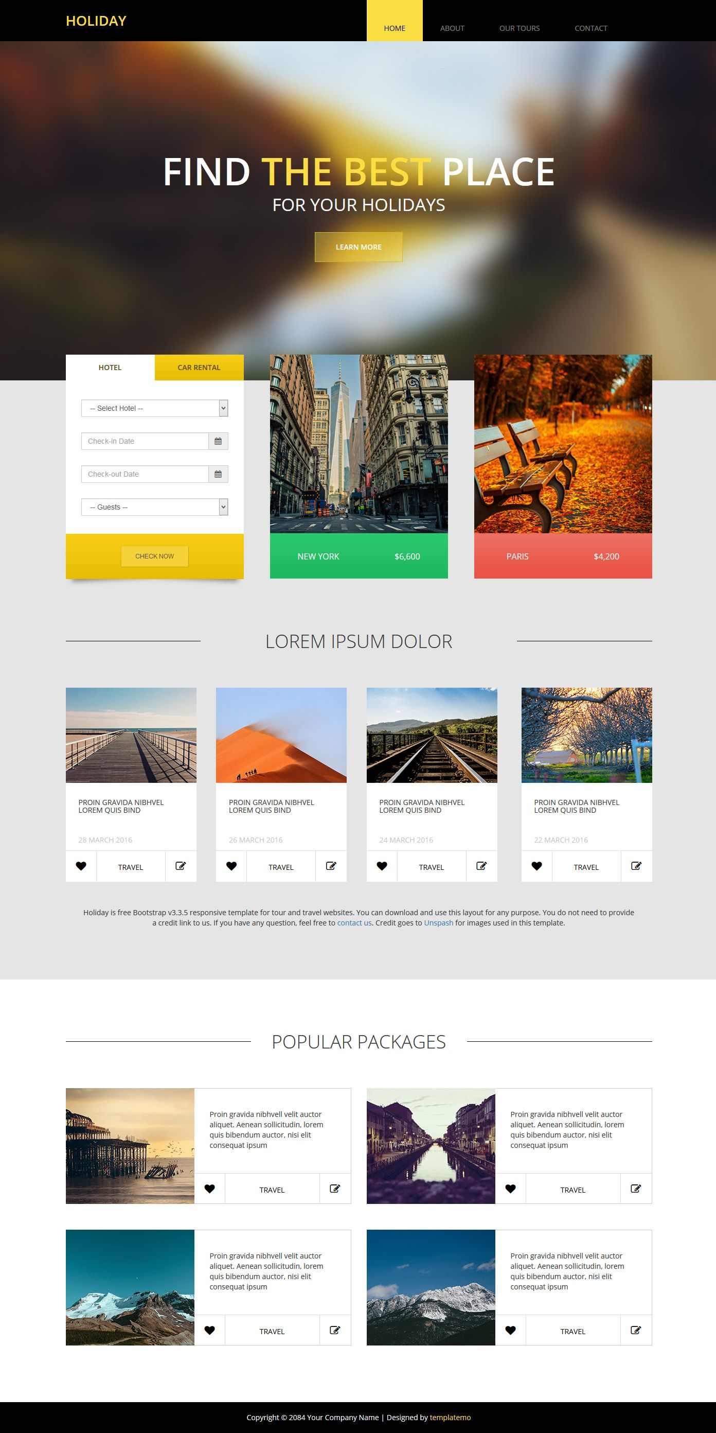 Holiday Theme is Bootstrap v3.3.5 responsive website template for ...