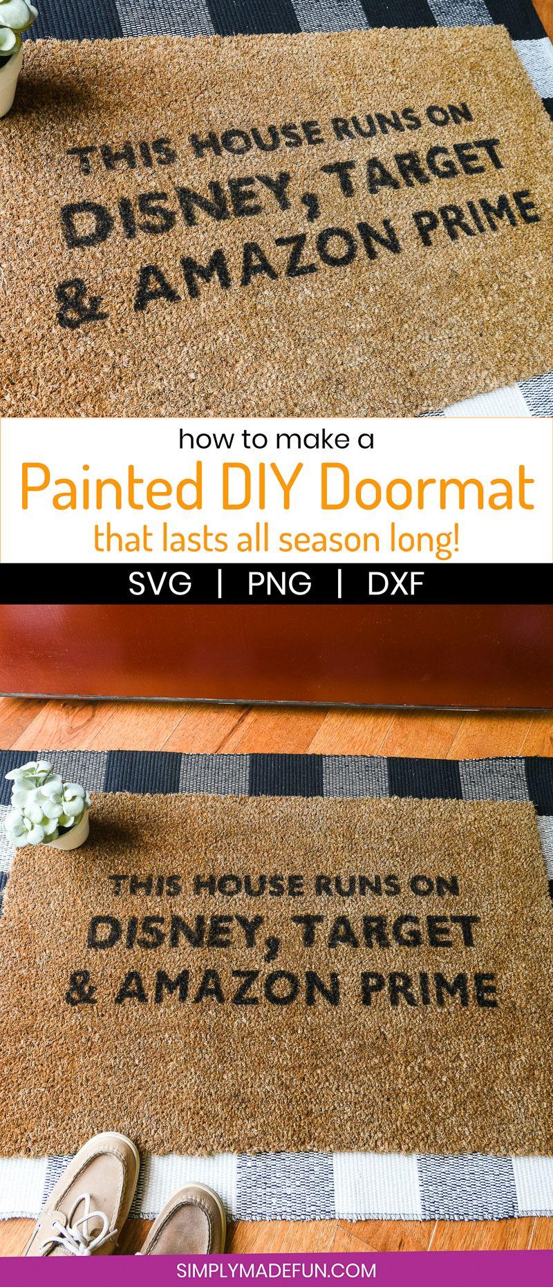 How To Make A Hand Painted Doormat Tutorial Door Mat Door Mat Diy Dollar Store Decor