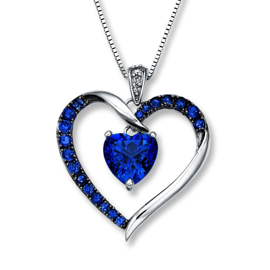 0535882d23a64 14K White Gold Diamond & Lab-Created Sapphire Necklace | SEPTEMBER ...