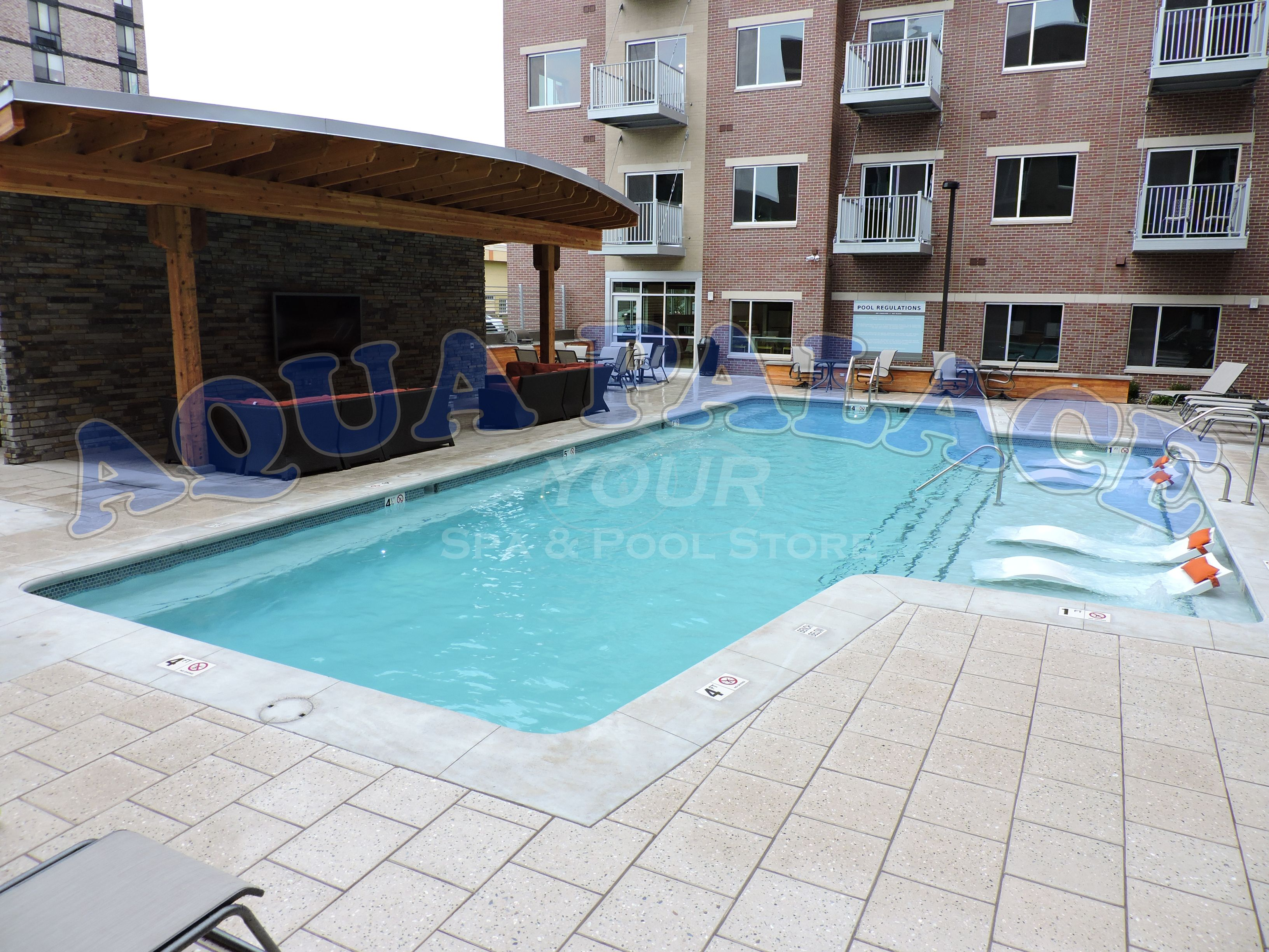 Custom Gunite Swimming Pool In Downtown Omaha NE Apartment Complex. Pool  Lighting, Tile Work