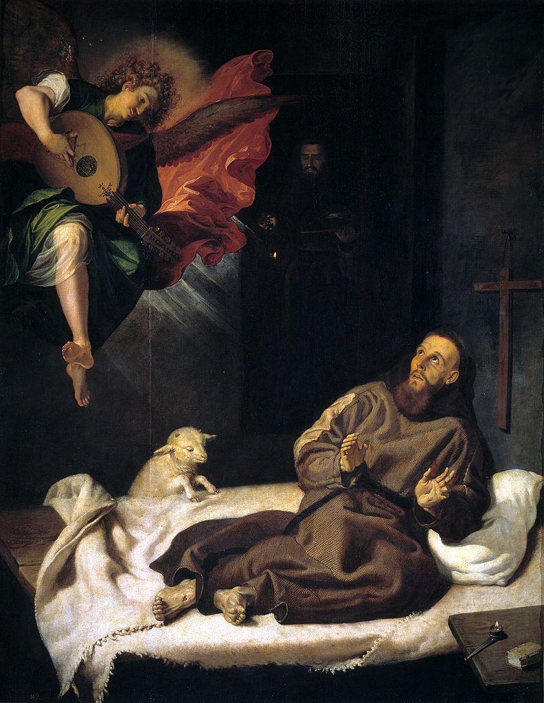 Een engel maakt muziek voor Franciscus, als hij ziek ligt in het paleis van de bisschop van Assisi.