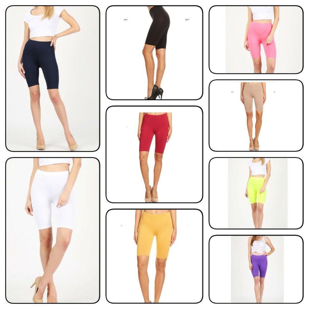 Womens Spandex Solid Biker Shorts Yoga Mid Thigh Bermuda Leggings