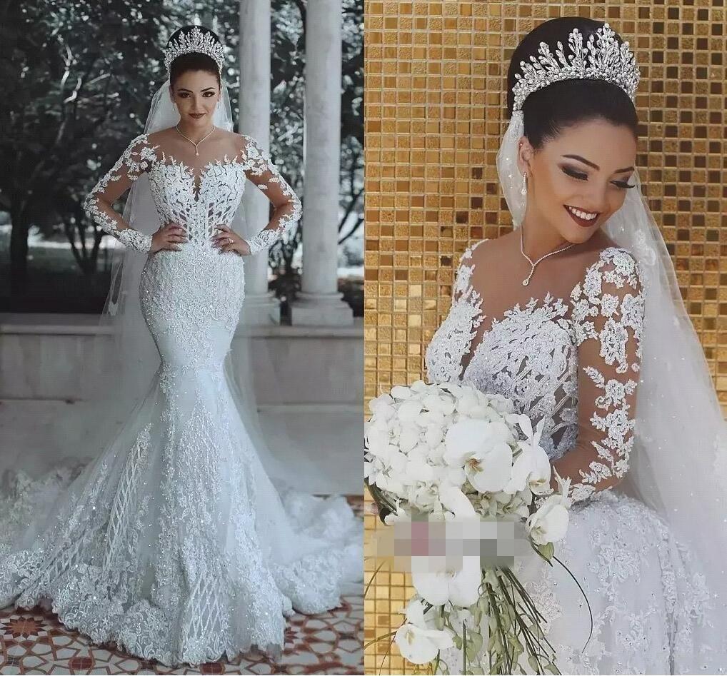latest mermaid scoop wedding dresses long sleeves applique lace