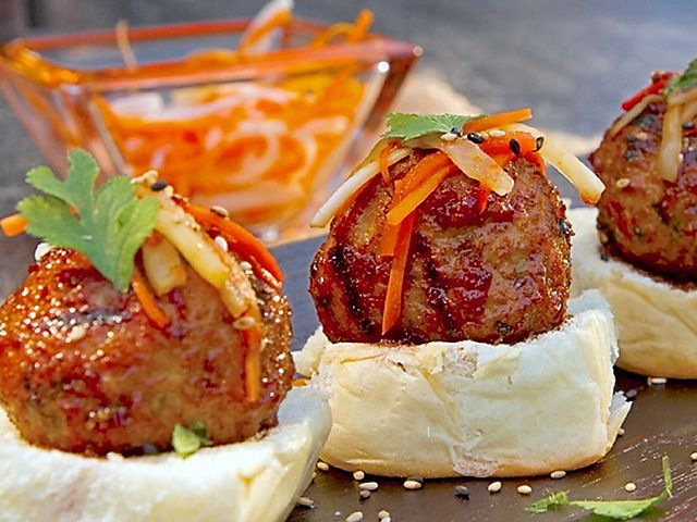 Asian chicken meatball sliders with pickled carrot and daikon asian chicken meatball sliders with pickled carrot and daikon forumfinder Choice Image
