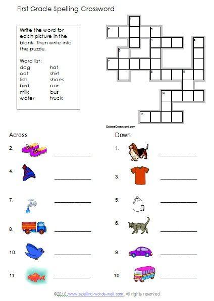 First Grade Spelling Puzzles Worksheets Grade Spelling