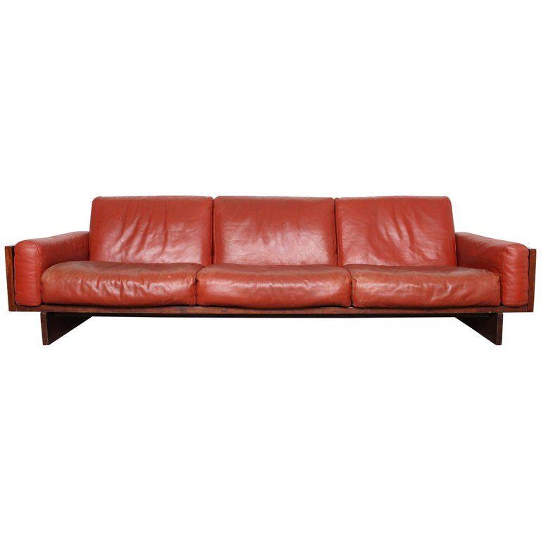 Mid-Century Modern Red Leather Three-Seat Sofa by Torbjørn ...