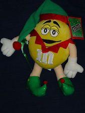 "10"" stuffed Galerie  plush YELLOW M&M CANDY plush CHRISTMAS ELF w/Tag"