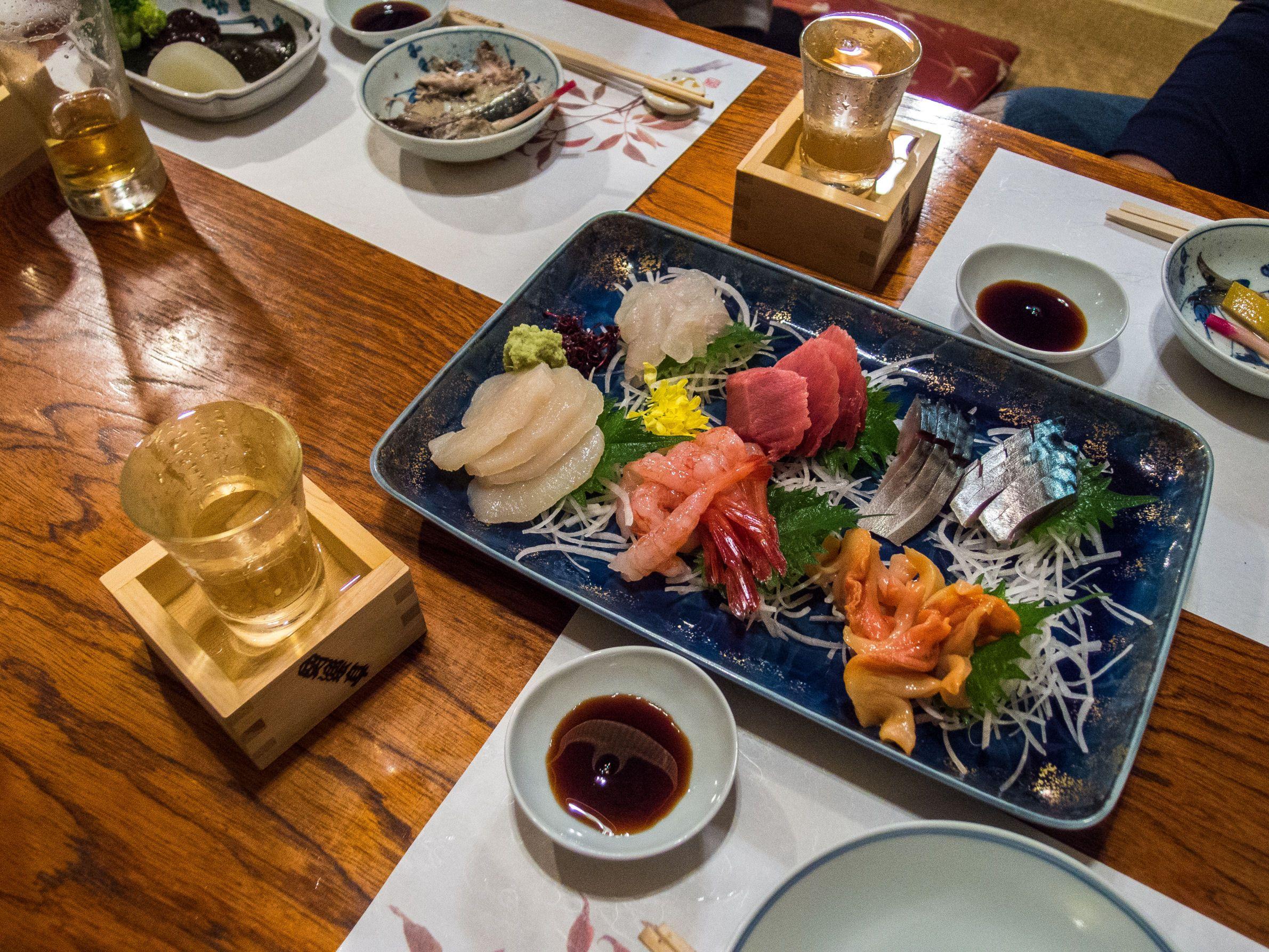 "At the ""Anrakutei"", izakaya tavern extraordinaire in Oku Asakusa (i.e. the area behind Sensoji) with some good friends: a great platter of sashimi   including a wonderful hiragai (fan mussel). 1/3 #Asakusa, #Oku, #Anrakutei, #sashimi, #hiragai November 27, 2014 © Grigoris A. Miliaresis"