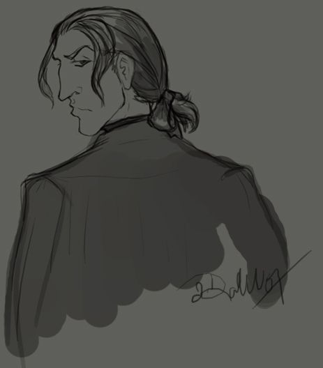 Young Snape with ponytail by depplosion