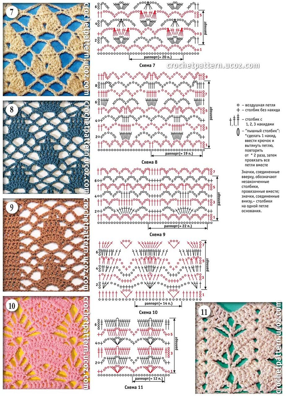 Häkelmuster Openwork / crochet patterns stitches | Ganchillo ...