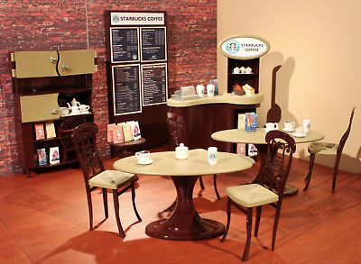 BARBIE STARBUCKS COFFEE SHOP 1:6 OOAK CAFE DIORAMA CUSTOM FURNITURE CHAIR  DOLL