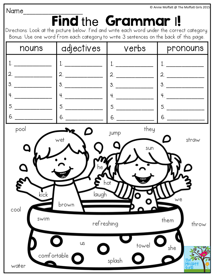 Find The Grammar Look At The Picture And Write The Words In The Correct Category Summer Fun Found Summer Review Packet 1st Grade Writing Nouns And Adjectives
